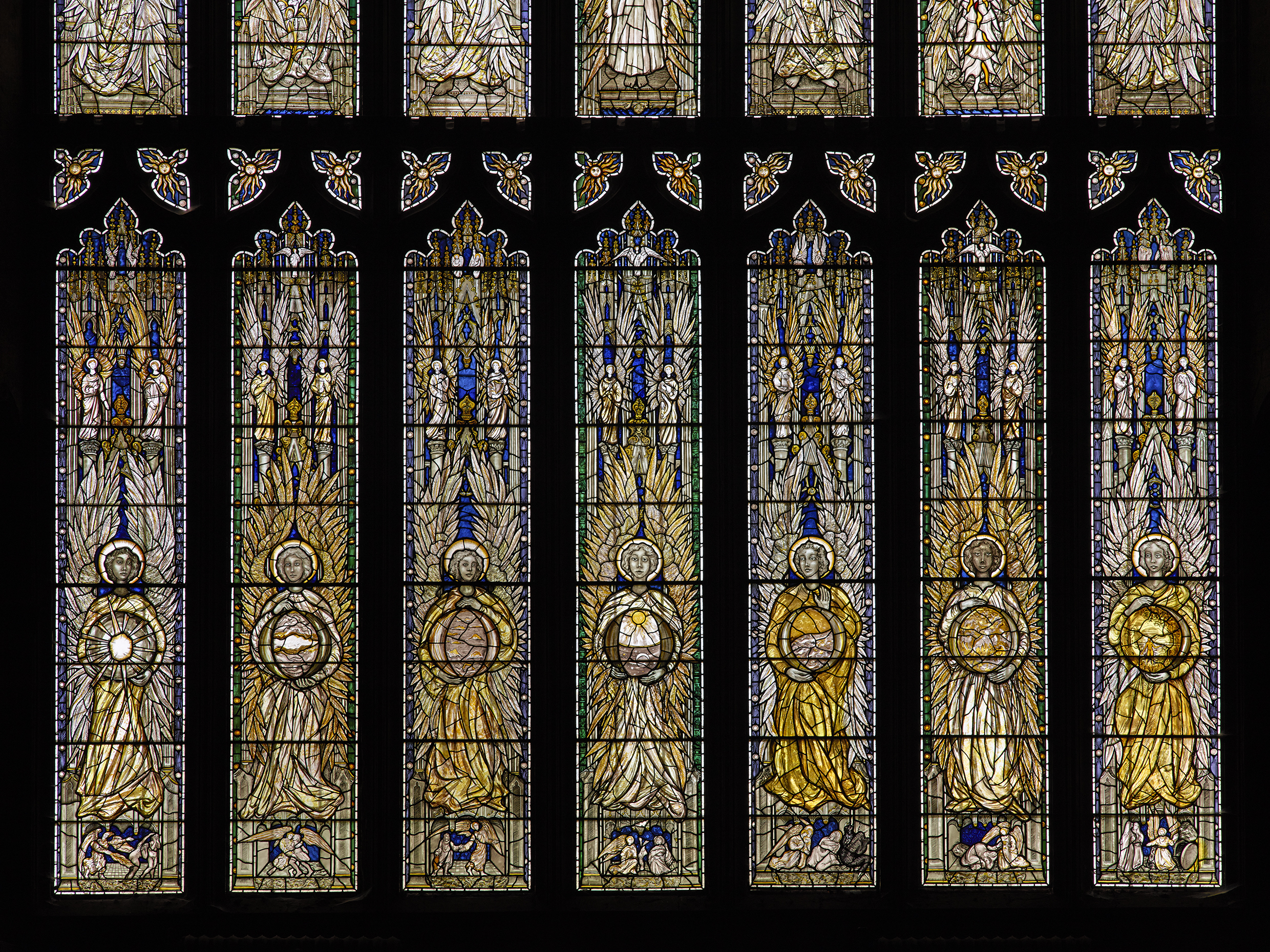 Stained glass window section inside Southwell Minster