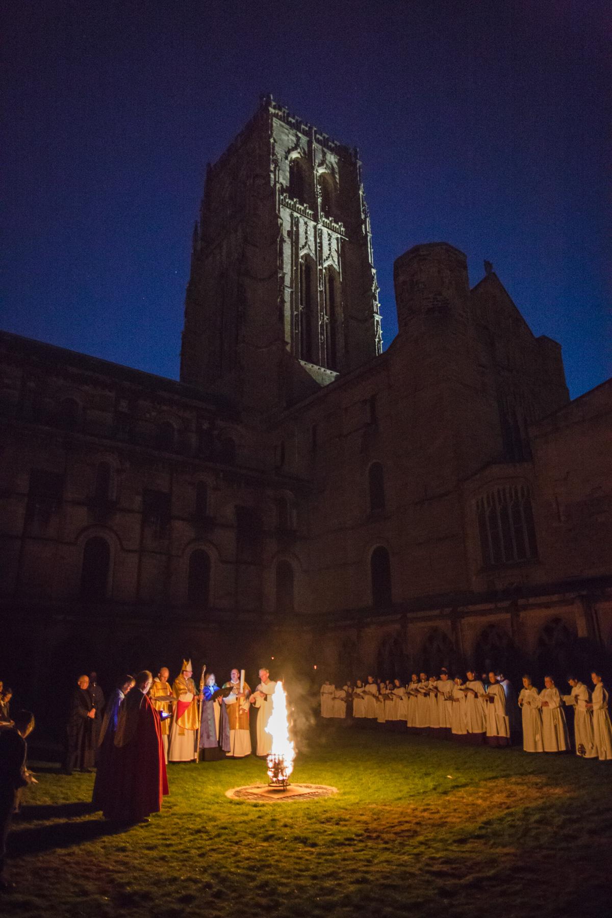 Bishop leads dawn vigil outside Durham Cathedral