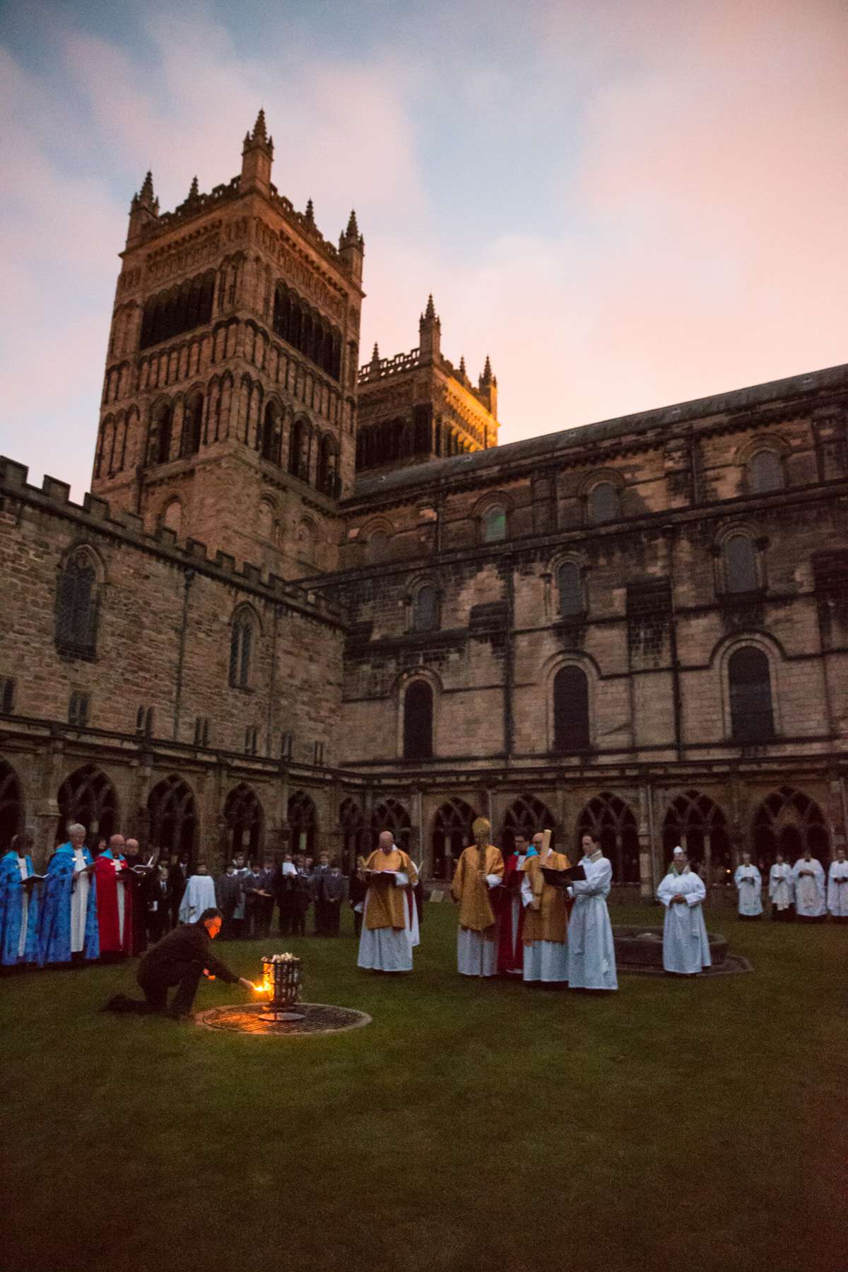 Easter dawn vigil outside Durham Cathedral