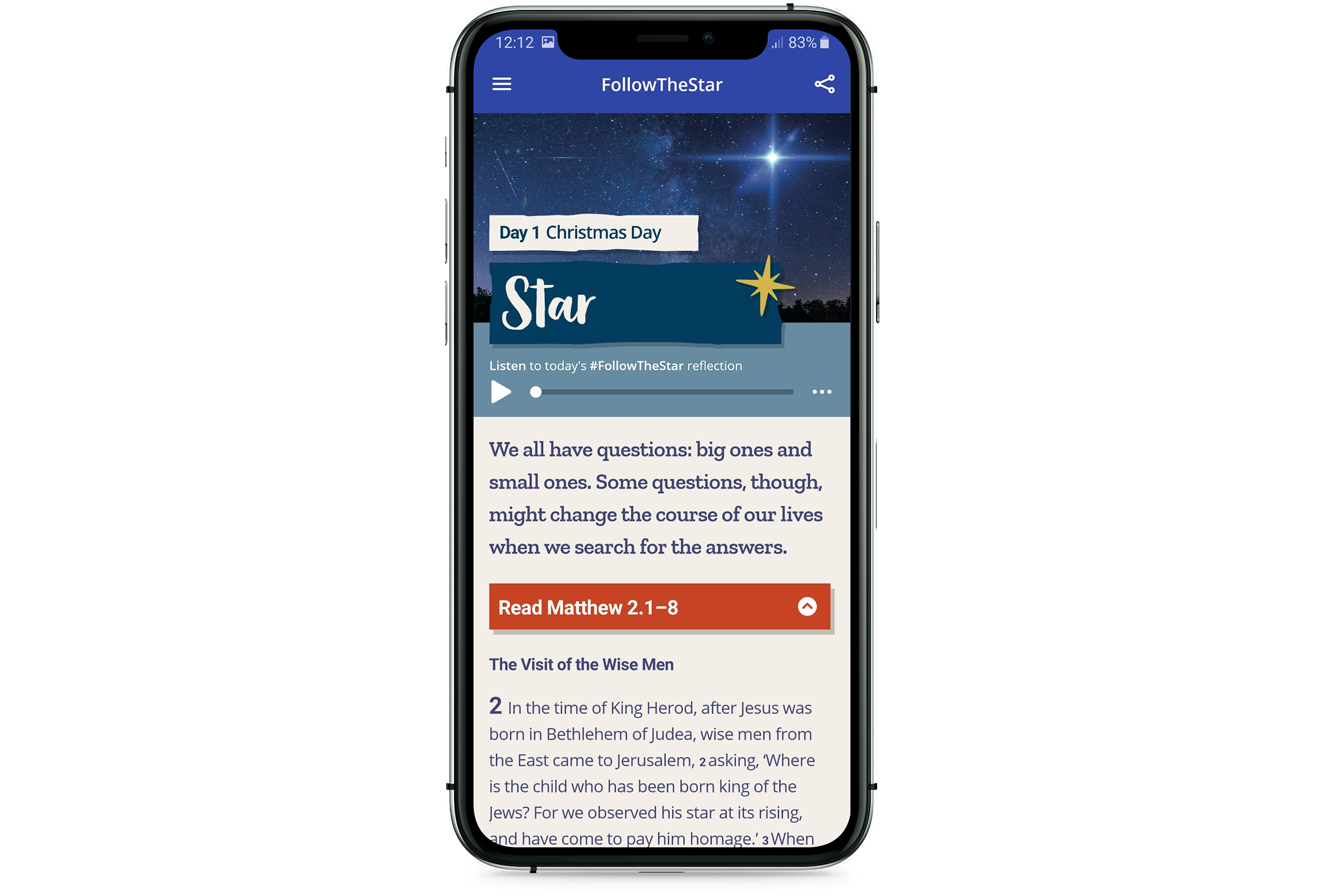 A mock up of the 2019 #FollowTheStar app on an iPhone.