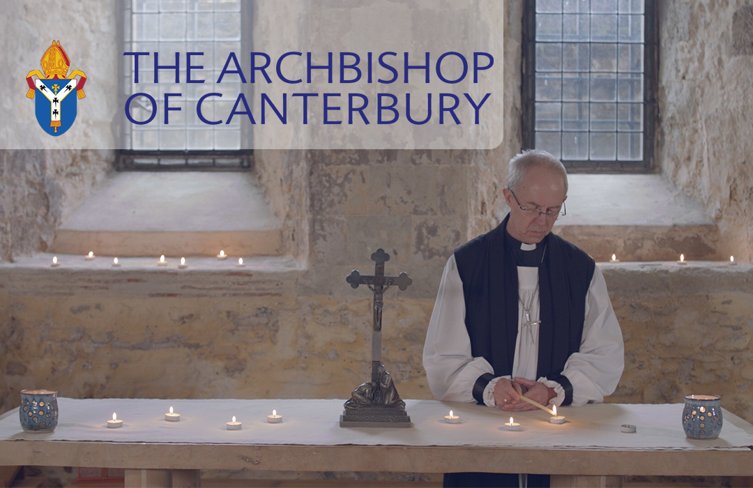 The Archbishop of Canterbury leading a service in the Lambeth Palace crypt.