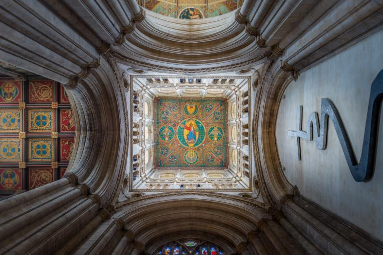 Ely Cathedral looking at the painted ceiling of the west tower