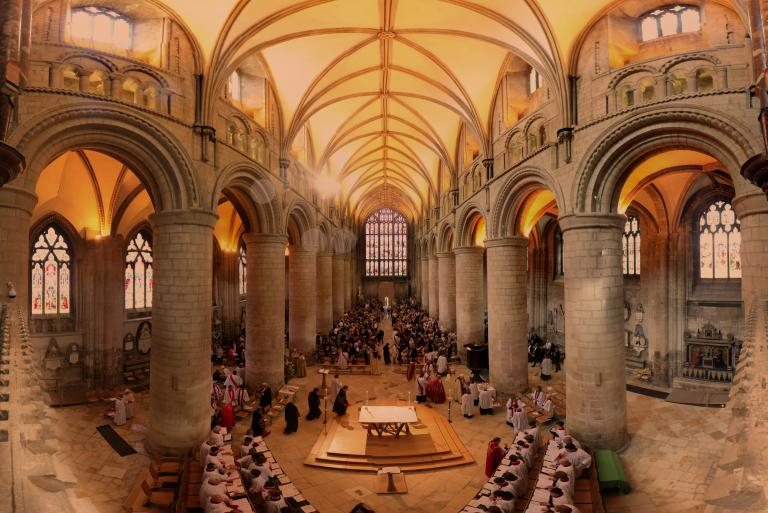Wide shot of cathedral service