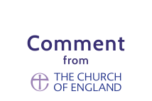 Church of England logo with comment text above it