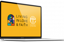 The Living in Love and Faith logo on a computer.