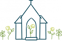A line drawing of a church with green line-drawn flowers growing within and around it