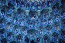 Iranian mosque with beautiful blue tiles shown in close up in a photograph by Soroush Zargar