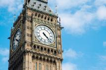 Big Ben, or the Elizabeth Tower, is shown of Parliament (Westminster) very close-up