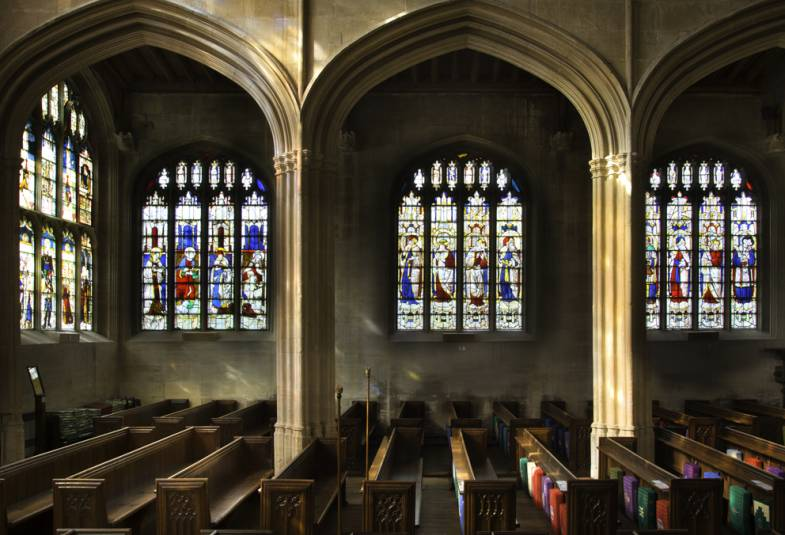 Interior view of St Mary's church Fairford