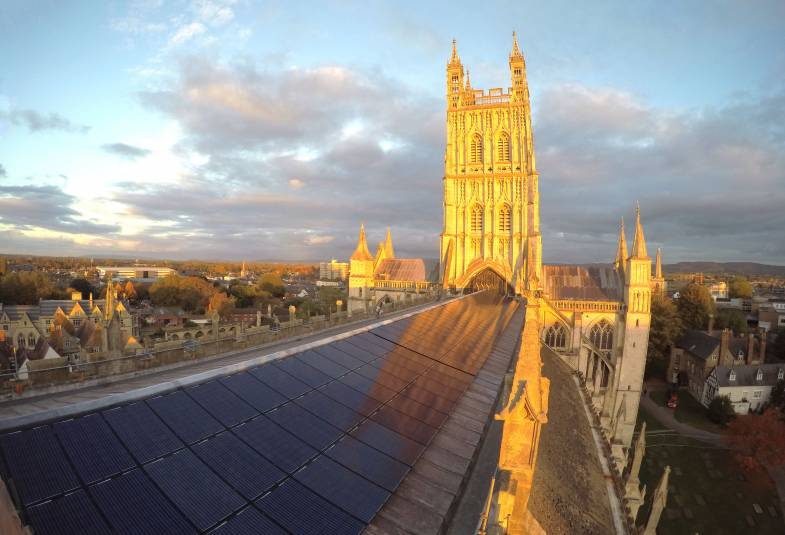 Solar panels on Gloucester Cathedral roof