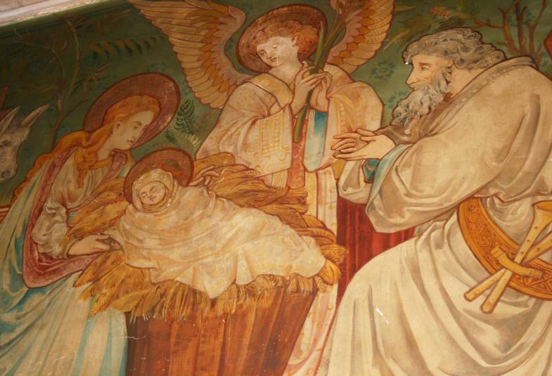 Wall painting of baby Jesus in the manger with Mary, Joseph and angel