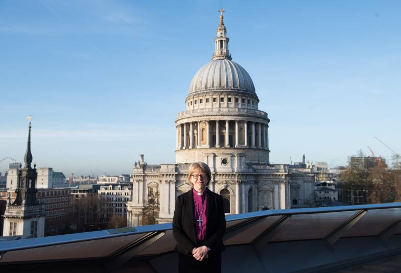 Bishop Sarah in front of St Paul's Cathedral