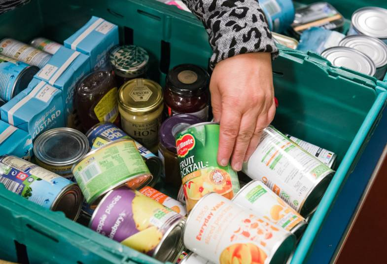crate of food at foodbank