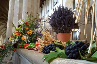 Display of flowers, fruit and wheat in cathedral for Harvest Festival
