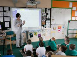 Woman teaching primary school class
