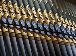 Row of organ pipes inside church