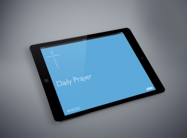 Shows the Daily Prayer mobile app on iPad