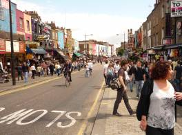 A busy Camden High Street during the day