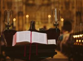 Large bible sitting on cathedral lectern