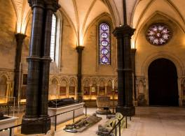 Interior of Temple Church London with the cenotaphs of the Medieval solders on the floor