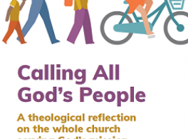 Cover for Calling All God's People booklet with colourful figures including a father and son, a boy with headphones and a backpack and a woman on a bicycle