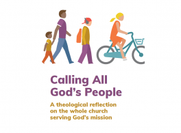 Calling All God's People booklet cover with a man and his child, a teenager with headphones and a backpack, and a woman riding a bicycle