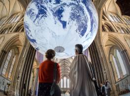 A giant globe hangs in Salisbury Cathedral
