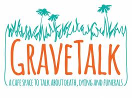 The word Gravetalk incorporated into an orange and green logo