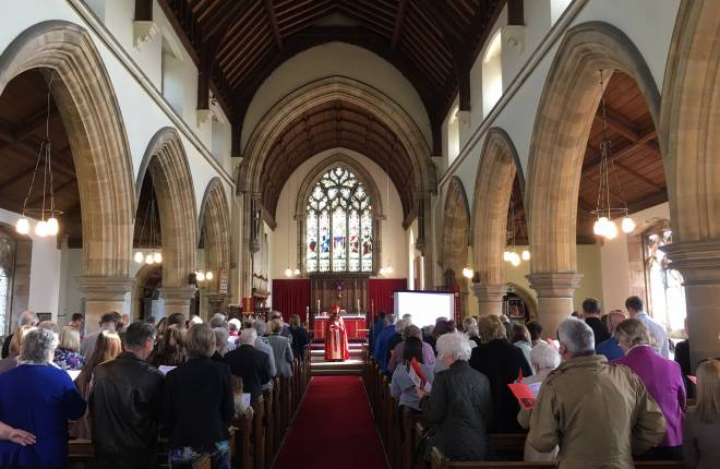 full church for service, Archbishop of York at front