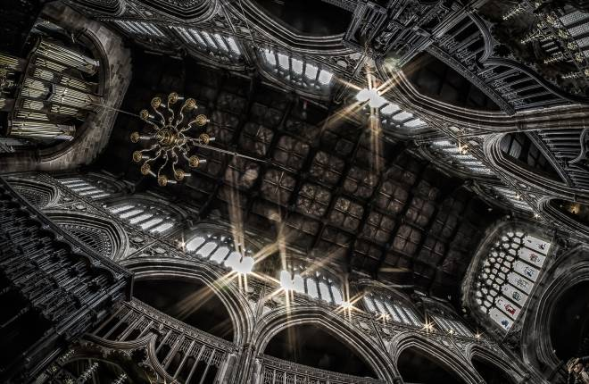 View of Manchester Cathedral ceiling