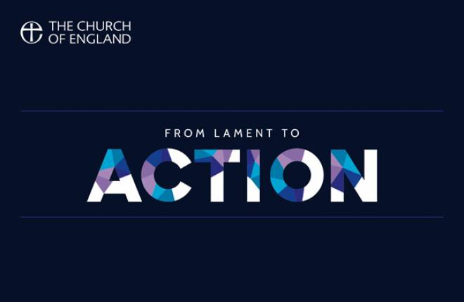 """From Lament to Action"" text appears on a dark blue background."