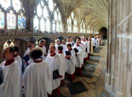 Cathedral choir lining up in cloisters
